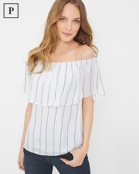 Petite Off-The-Shoulder Stripe Blouse