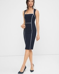 Officer Blue Contrast Trim Sheath Dress