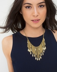 Textured Drop Fringe Necklace