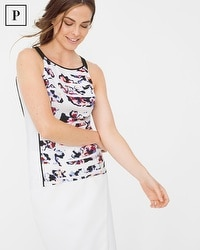Petite Sleeveless Floral Colorblock Top