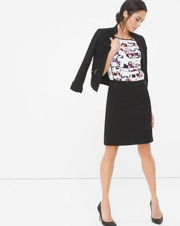 Ponte Button-Waist Pencil Skirt