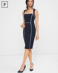 Petite Contrast Trim Sheath Dress