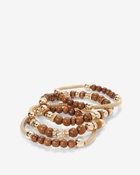 Wooden Mesh Stretch Bracelet Set