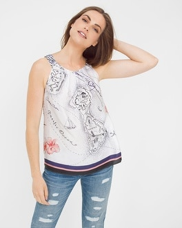 Polynesian Print Shell Top
