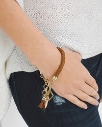 Braided Leather Charm Bracelet