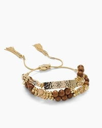 Wood Bead Hammered Friendship Bracelet