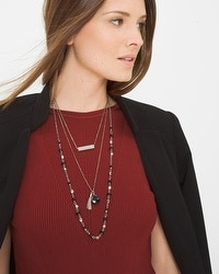 Convertible Jet Bead Multi-Row Necklace
