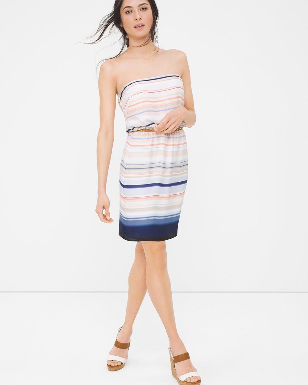 Strapless Stripe Blouson Dress White House Black Market