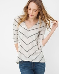Chevron Stripe V-Neck Tee