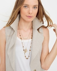 Convertible Wooden Bead Multi-Row Necklace