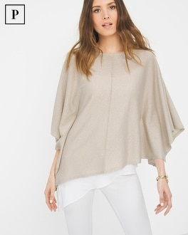 Petite Asymmetric Layer Poncho Sweater