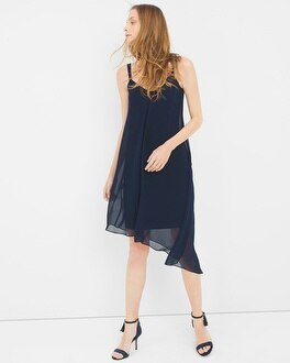Asymmetric Chiffon Midi Dress