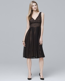 Shadow Stripe Fit-and-Flare Dress | Tuggl