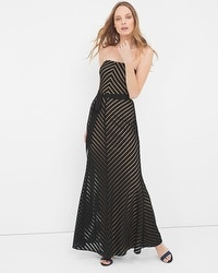Strapless Shadow Stripe Gown