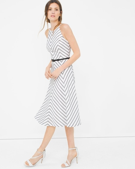 Bias Stripe Fit-and-Flare Dress