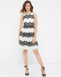 Contrast Lace Fit-and-Flare Dress