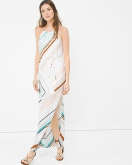 Asymmetric Stripe Maxi Dress
