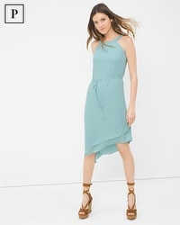 Petite Asymmetric-Hem Halter Dress