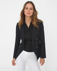 Black Linen-Blend Trophy Jacket