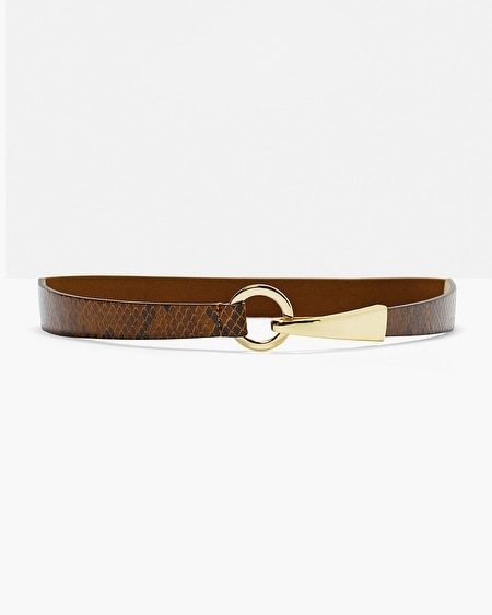 Leather Python-Texture Skinny Belt