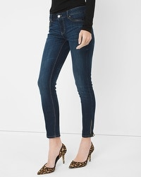 Leather-Trim Skimmer Jeans