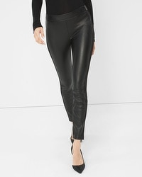 Vegan Leather-Front Leggings