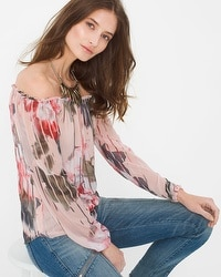 Off-The-Shoulder Floral-Print Blouse