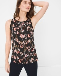 Floral Woven Inset Sweater Tank