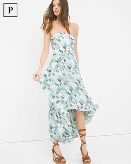 Petite Printed High-Low Fit-and-Flare Dress
