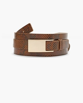 Leather Python-Texture Wide Belt