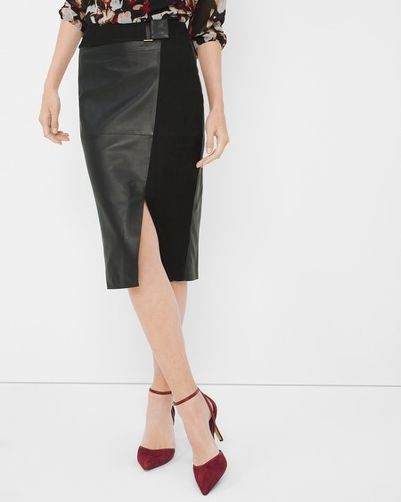 Leather And Suede Pencil Skirt