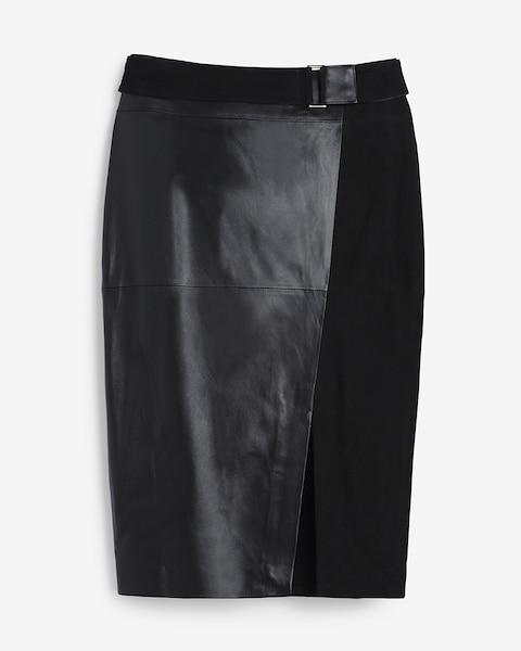 leather and suede pencil skirt whbm