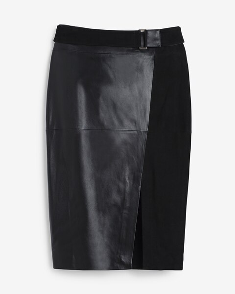 Leather And Suede Pencil Skirt - WHBM