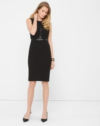 Faux Leather-Trim Black Sheath Dress