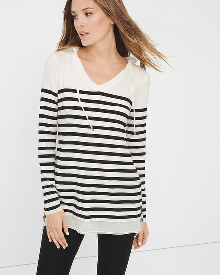 Striped Knit Hoodie