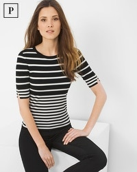 Petite Short Sleeve Stripe Sweater