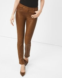 Leather-Front Slim Jeans