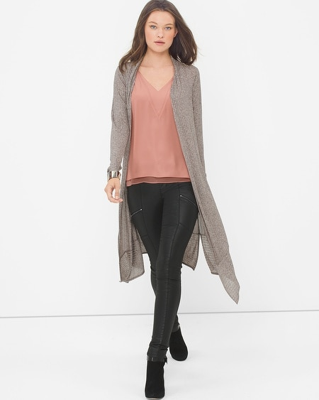 Long-Sleeve Ribbed Duster