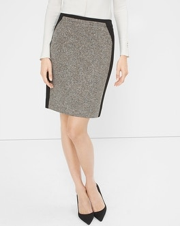 Tweed-Panel Pencil Skirt