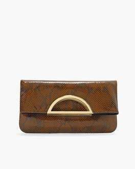Printed Leather Foldover Clutch