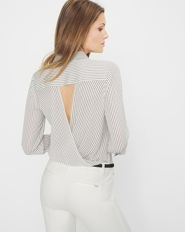 Striped Surplice-Back Blouse