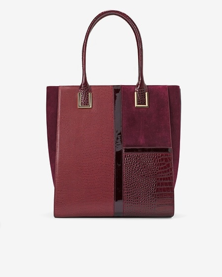 Embossed Leather & Suede Tote
