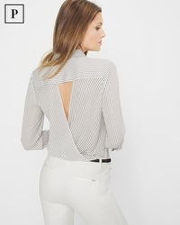 Petite Striped Surplice-Back Blouse