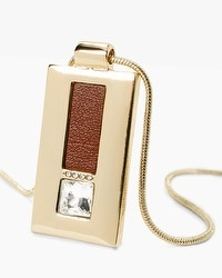 Leather Detail Rectangle Pendant Necklace