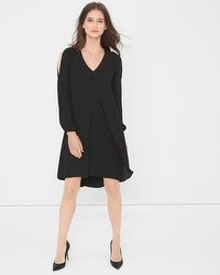 Split-Front Black Chiffon Dress