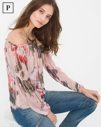 Petite Off-The-Shoulder Floral Blouse