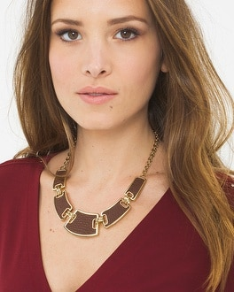 Leather Detail Statement Necklace