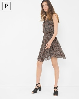 Petite Sleeveless Printed Flirty Dress