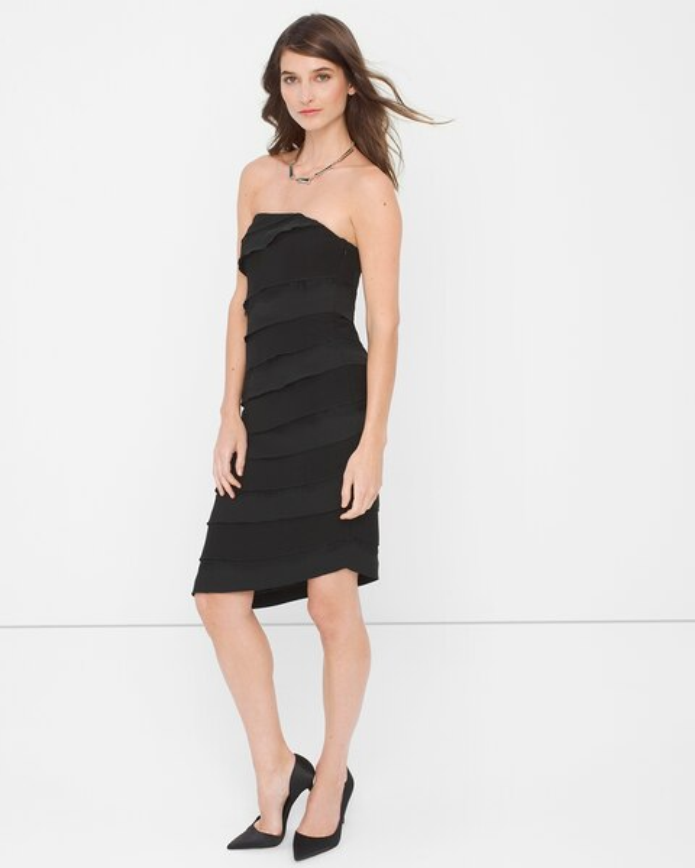 Strapless Black Lace Tiered Sheath Dress White House Black Market