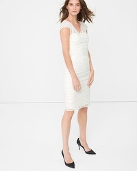 Banded White Sheath Dress